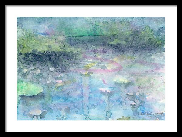 Blue Framed Print featuring the painting Water Landscape by Ingela Christina Rahm