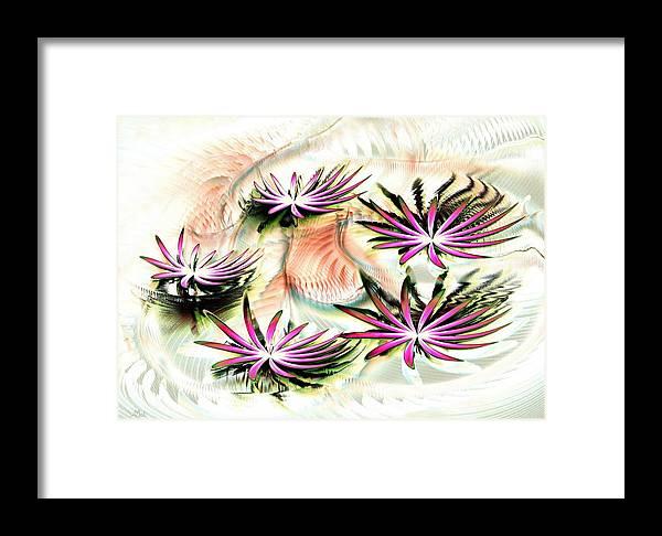 Calm Framed Print featuring the digital art Water Lilies by Anastasiya Malakhova