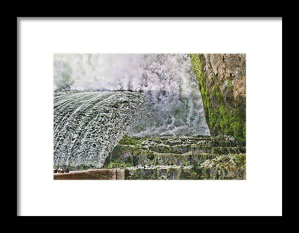 Water Framed Print featuring the digital art Water Over A Dam by Audreen Gieger