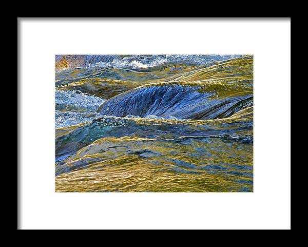 Water Waves On Rock Framed Print featuring the photograph Water Rushing Over Rocks by Kirsten Giving