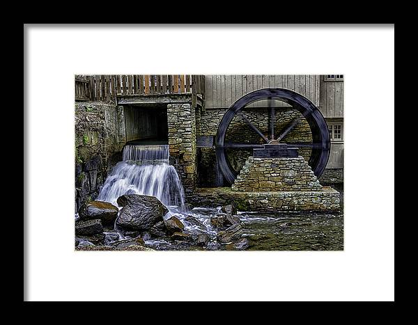 Jenney Pond Framed Print featuring the photograph Water Wheel Plimouth Grist Mill At Jenney Pond by Myer Bornstein