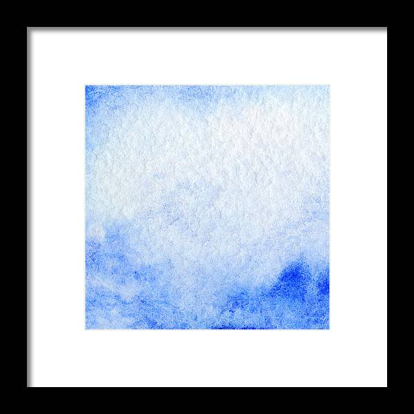 ee035f46f3b Art Framed Print featuring the drawing Watercolor Blue White Sky Clouds  Texture Background by Silmairel