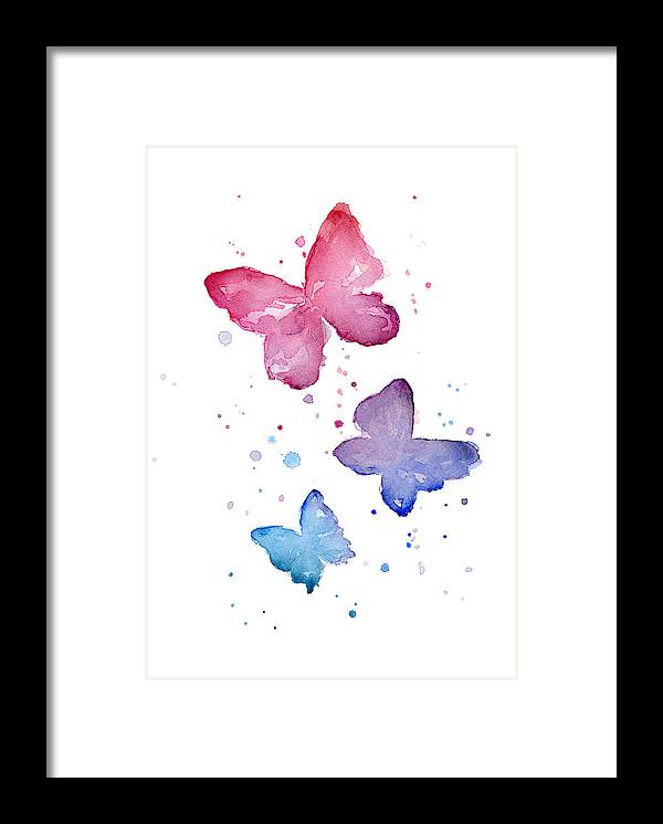 Watercolor Framed Print featuring the painting Watercolor Butterflies by Olga Shvartsur