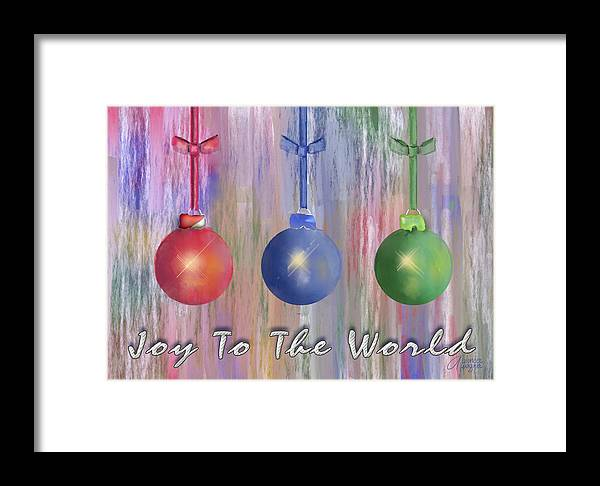 Christmas Framed Print featuring the digital art Watercolor Christmas Bulbs by Arline Wagner