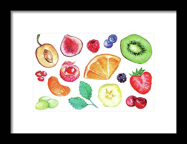 Cherry Framed Print featuring the digital art Watercolor Exotic Fruit Berry Slice Set by Silmairel