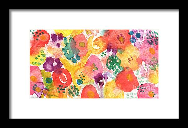Flowers Framed Print featuring the painting Watercolor Garden by Linda Woods
