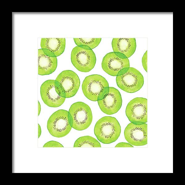 Vitamin C Framed Print featuring the digital art Watercolor Green Kiwi Pattern by Saemilee