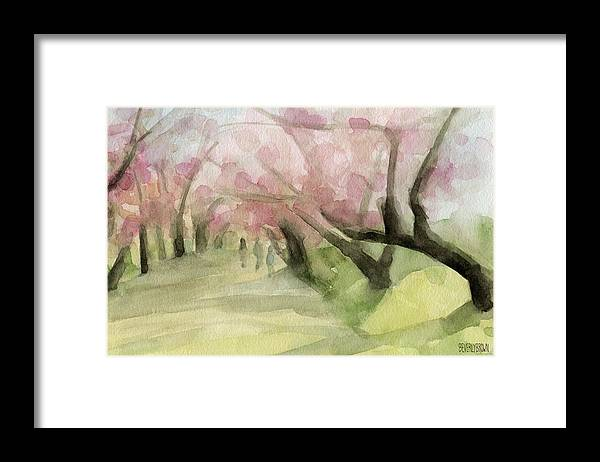Landscape Framed Print featuring the painting Watercolor Painting of Cherry Blossom Trees in Central Park NYC by Beverly Brown