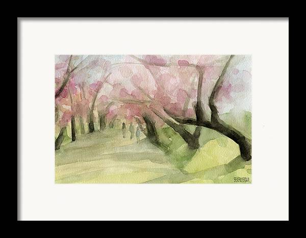 Cherry Blossom Framed Print featuring the painting Watercolor Painting Of Cherry Blossom Trees In Central Park Nyc by Beverly Brown Prints