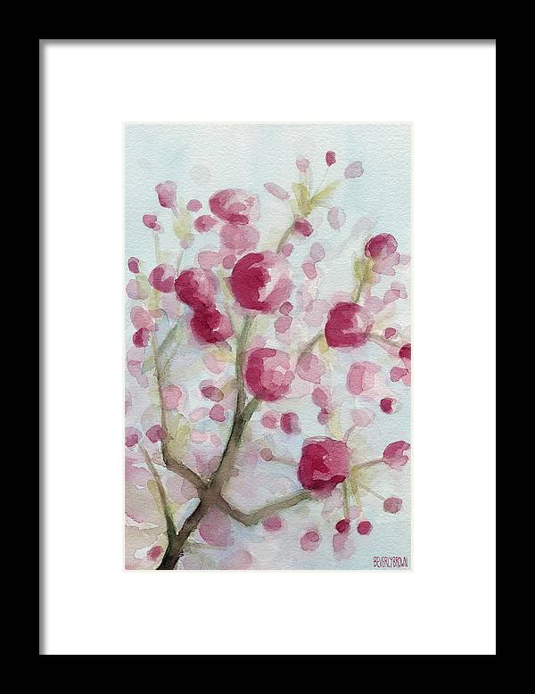 Floral Framed Print featuring the painting Watercolor Painting Of Pink Cherry Blossoms by Beverly Brown
