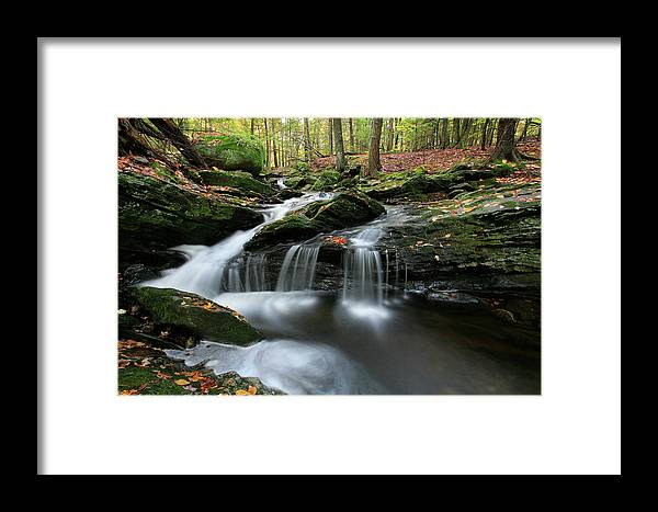Autumn Framed Print featuring the photograph Waterfall In Autumn Woods by Chris Pinchbeck
