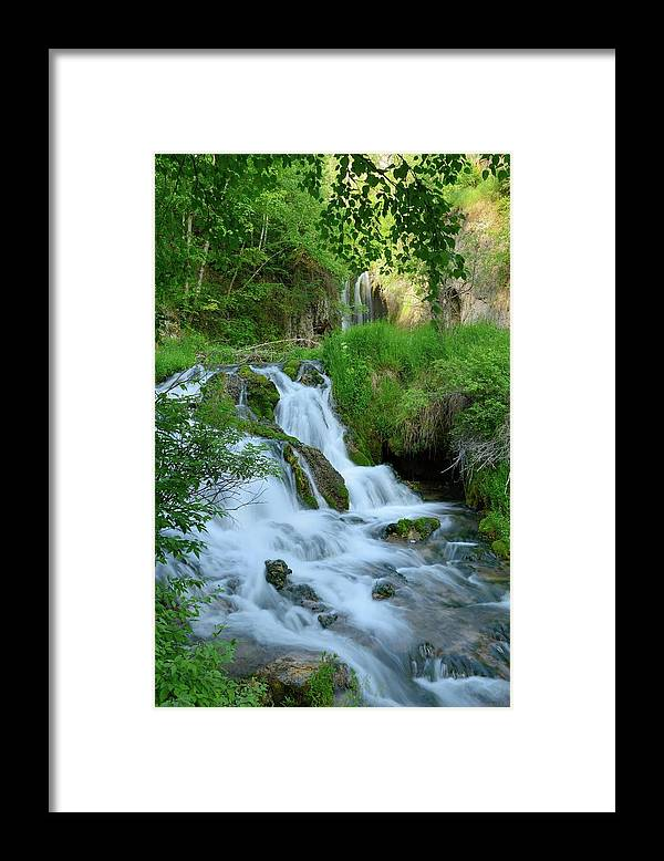Scenics Framed Print featuring the photograph Waterfall In Spearfish Cayon South by Groveb