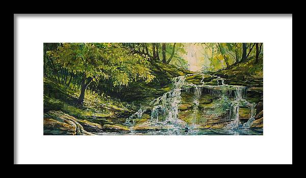 Waterfall In The Woods Framed Print featuring the painting Waterfall in the Woods by Joy Nichols