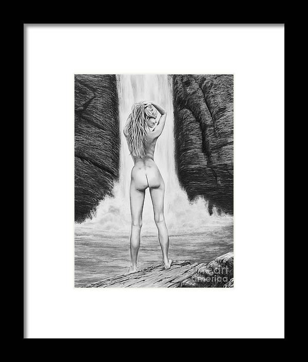 Waterfall Framed Print featuring the drawing Waterfall Pin Up Girl by Murphy Elliott