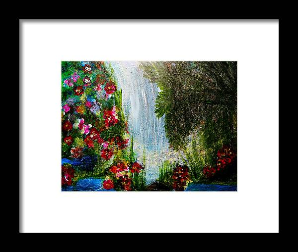 Abstrac Acrylic Prints Framed Print featuring the painting Waterfall by Suzanne Thomas