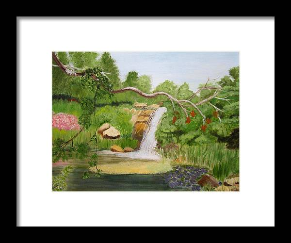 Landscape Framed Print featuring the painting Waterfalls At Red Butte Garden by Linda Feinberg