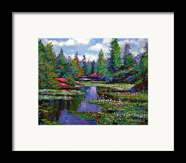 Impressionism Framed Print featuring the painting Waterlily Lake Reflections by David Lloyd Glover