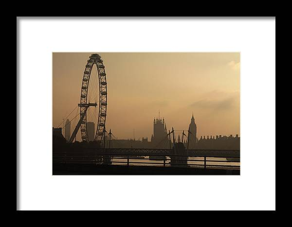 London Sepia Bridge Waterloo Bridge London Eye Houses Of Parliament Commons Big Ben River Thames Henry Hemming Framed Print featuring the photograph Waterloo Bridge View by Henry Hemming