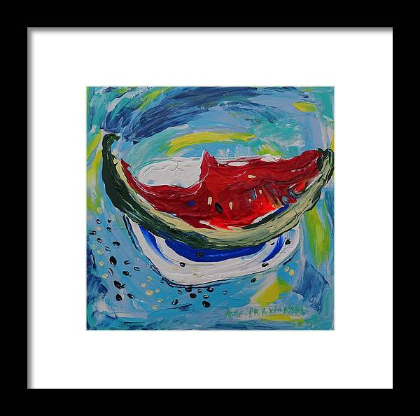 Watermelon Framed Print featuring the painting Watermelon. by Agnieszka Praxmayer