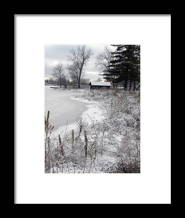 Building Framed Print featuring the photograph Waters Edge by Teresa Schomig