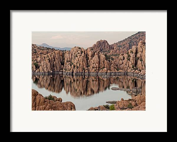 Prescott Framed Print featuring the photograph Watson Lake Tranquility by Angie Schutt