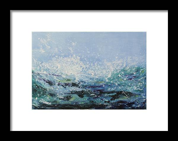 Ocean Framed Print featuring the painting Wave I by Alexandra Leadbeater