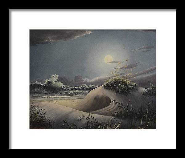 Landscape Framed Print featuring the painting Waves And Moonlight by Wanda Dansereau