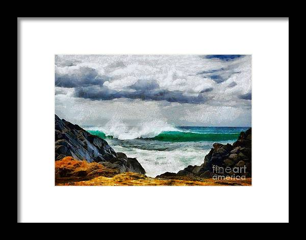 Seascape Framed Print featuring the painting Waves And Rocks by Elizabeth Coats