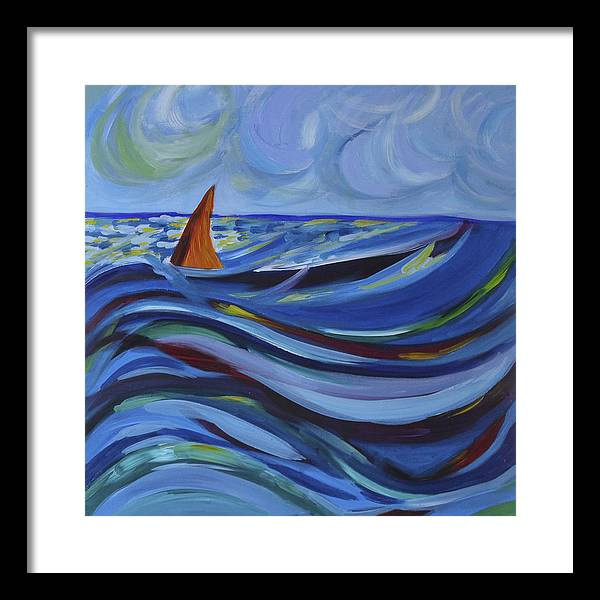 Wave Framed Print featuring the painting Waves by Ingrid Torjesen