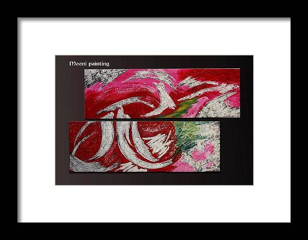 Abstract Framed Print featuring the painting Wavy Mood by Mooni Bestever