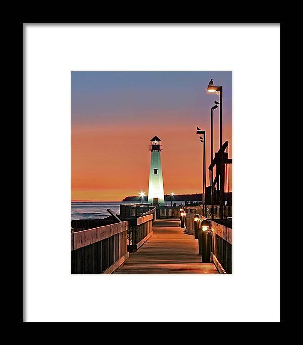 Lighthouse Framed Print featuring the photograph Wawatam Lighthouse Sunrise by John Absher
