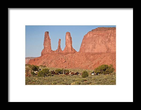 Mustangs Framed Print featuring the photograph Wayne Monument by Diane Bohna
