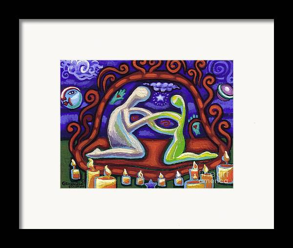 Woman Framed Print featuring the painting We Are Connected by Genevieve Esson