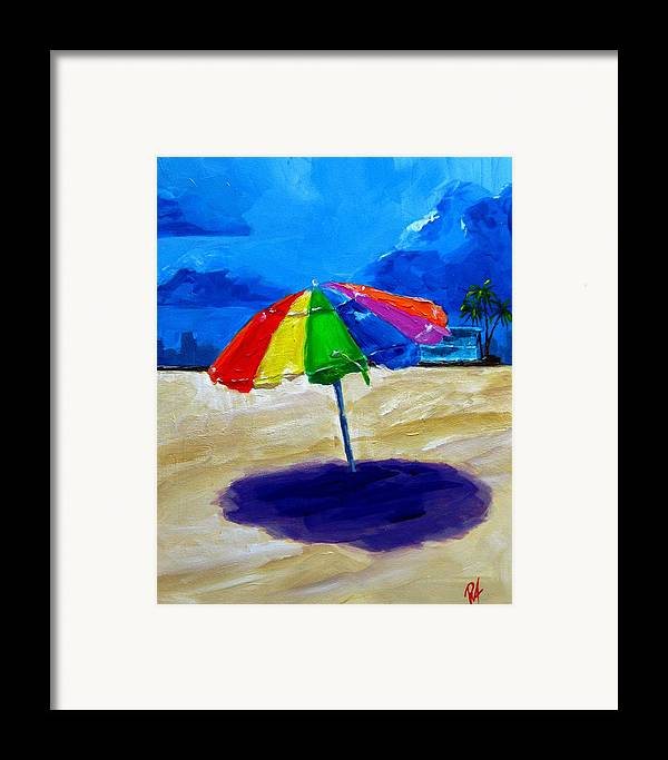 Art Framed Print featuring the painting We Left The Umbrella Under The Storm by Patricia Awapara