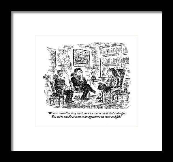 Relationships Framed Print featuring the drawing We Love Each Other Very Much by Edward Koren