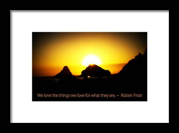 Sunset Framed Print featuring the photograph We Love The Things We Love by Kathy Sampson