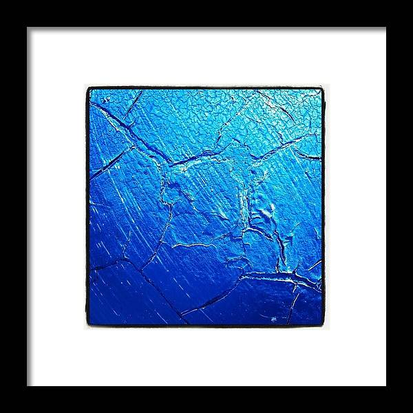 Abstract Framed Print featuring the photograph Weathered In Blue by CML Brown