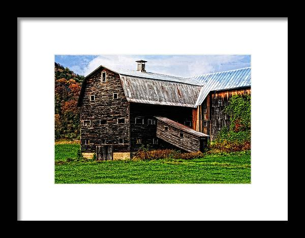 Barn Framed Print featuring the photograph Weathered New England Barn by Mike Martin