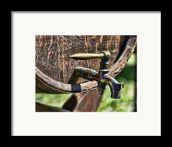 Barrel Tap Framed Print featuring the photograph Weathered Tap And Barrel by Paul Ward