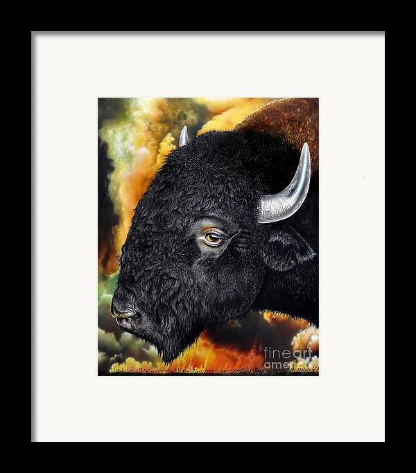 Bison Framed Print featuring the painting Weathering Storm by Jurek Zamoyski