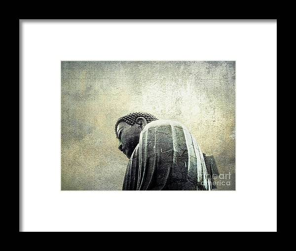 Buddha Framed Print featuring the photograph Weathering The Storm by Ellen Cotton