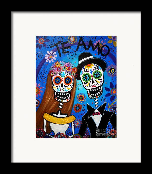 Wedding Framed Print featuring the painting Wedding Couple by Pristine Cartera Turkus