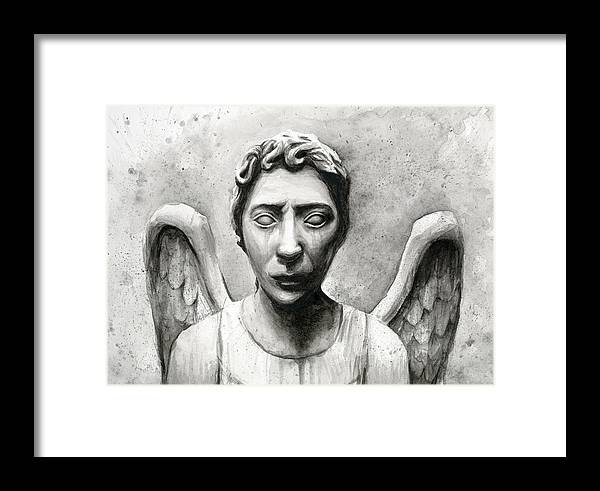 Who Framed Print featuring the painting Weeping Angel Don't Blink Doctor Who Fan Art by Olga Shvartsur