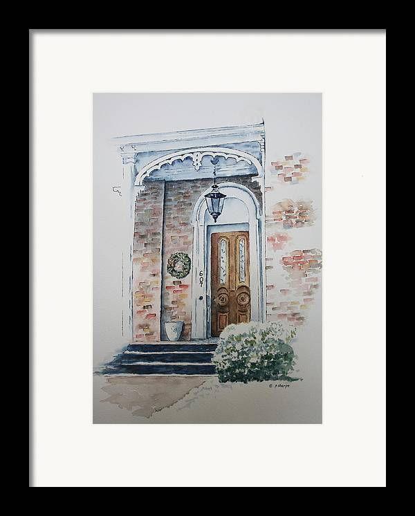 Historic Home Framed Print featuring the painting Welcome Christmas by Patsy Sharpe