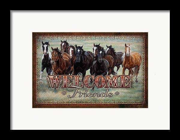 Michelle Grant Framed Print featuring the painting Welcome Friends Horses by JQ Licensing