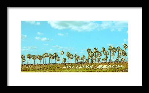 Daytona Framed Print featuring the pyrography Welcome To Daytona Beach by Shirley Tinkham