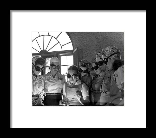 History Framed Print featuring the photograph Welding Training For Women by Everett