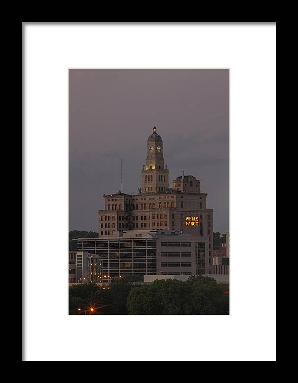 Wells Fargo Bank Building Framed Print featuring the photograph Wells Fargo Bank Building At Sunset. by Heidi Brandt