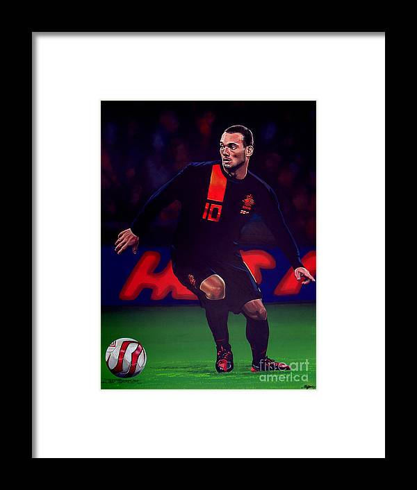 Wesley Sneijder Framed Print featuring the painting Wesley Sneijder by Paul Meijering