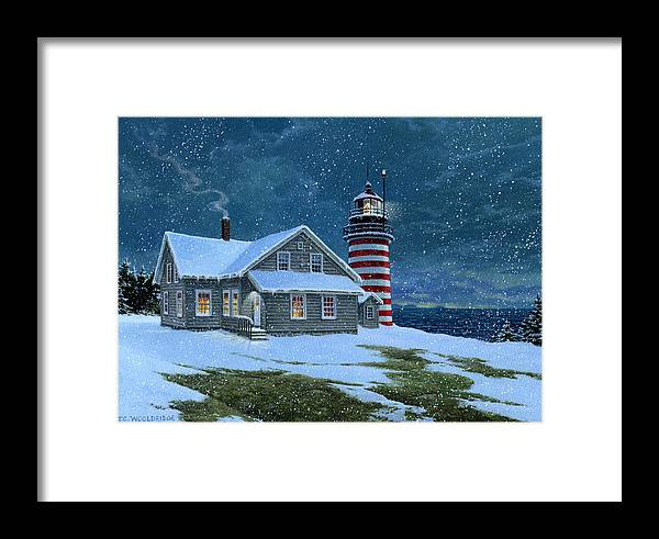 Maine Framed Print featuring the painting West Quoddy Lighthouse by Tom Wooldridge